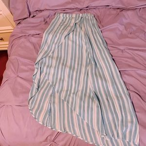 Blue and White Long Striped Skirt 🦋